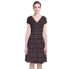 Woven1 Black Marble & Dull Brown Leather (r) Short Sleeve Front Wrap Dress