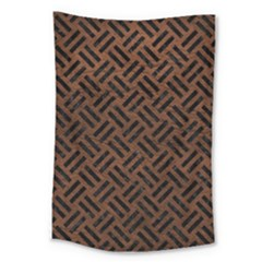 Woven2 Black Marble & Dull Brown Leather Large Tapestry