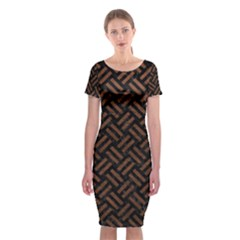 Woven2 Black Marble & Dull Brown Leather (r) Classic Short Sleeve Midi Dress