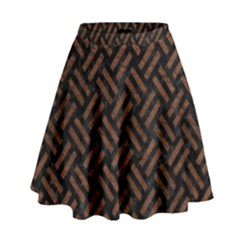 Woven2 Black Marble & Dull Brown Leather (r) High Waist Skirt by trendistuff