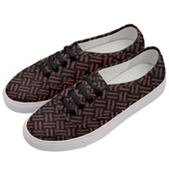 Woven2 Black Marble & Dull Brown Leather (r) Women s Classic Low Top Sneakers by trendistuff
