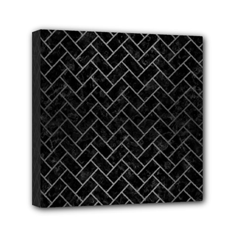 Brick2 Black Marble & Gray Brushed Metal (r) Mini Canvas 6  X 6  by trendistuff