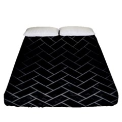 Brick2 Black Marble & Gray Brushed Metal (r) Fitted Sheet (queen Size) by trendistuff