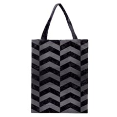 Chevron2 Black Marble & Gray Brushed Metal Classic Tote Bag by trendistuff