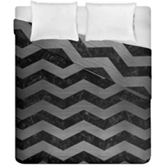 Chevron3 Black Marble & Gray Brushed Metal Duvet Cover Double Side (california King Size) by trendistuff