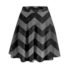 Chevron3 Black Marble & Gray Brushed Metal High Waist Skirt by trendistuff