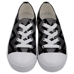 Chevron9 Black Marble & Gray Brushed Metal Kids  Low Top Canvas Sneakers