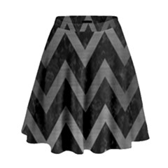 Chevron9 Black Marble & Gray Brushed Metal (r) High Waist Skirt by trendistuff