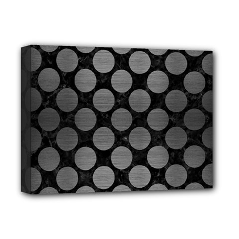 Circles2 Black Marble & Gray Brushed Metal (r) Deluxe Canvas 16  X 12   by trendistuff
