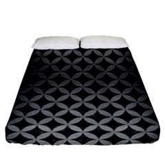 Circles3 Black Marble & Gray Brushed Metal (r) Fitted Sheet (queen Size) by trendistuff