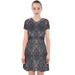 Damask1 Black Marble & Gray Brushed Metal Adorable In Chiffon Dress