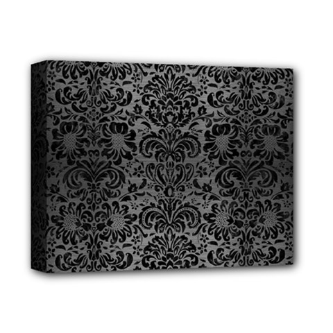 Damask2 Black Marble & Gray Brushed Metal Deluxe Canvas 14  X 11  by trendistuff