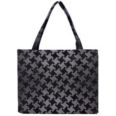 Houndstooth2 Black Marble & Gray Brushed Metal Mini Tote Bag by trendistuff