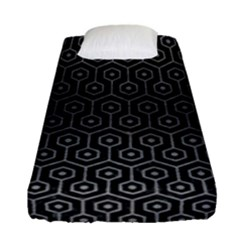 Hexagon1 Black Marble & Gray Brushed Metal (r) Fitted Sheet (single Size) by trendistuff