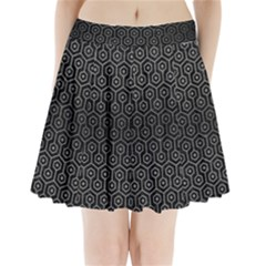 Hexagon1 Black Marble & Gray Brushed Metal (r) Pleated Mini Skirt