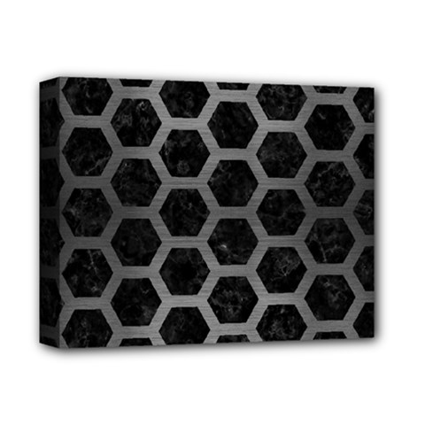 Hexagon2 Black Marble & Gray Brushed Metal (r) Deluxe Canvas 14  X 11  by trendistuff