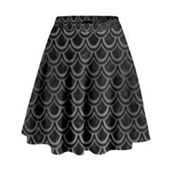 Scales2 Black Marble & Gray Brushed Metal (r) High Waist Skirt by trendistuff