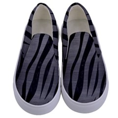 Skin3 Black Marble & Gray Brushed Metal Kids  Canvas Slip Ons