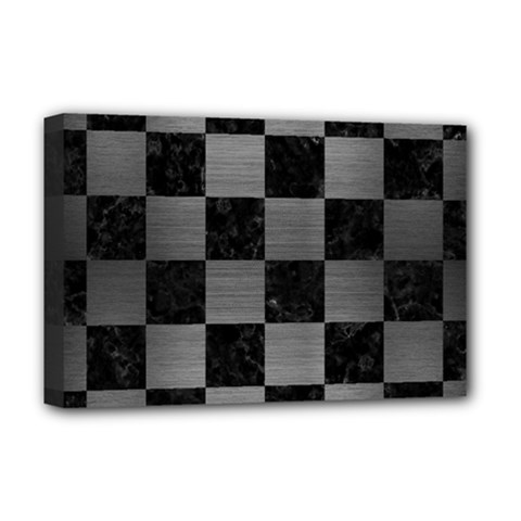Square1 Black Marble & Gray Brushed Metal Deluxe Canvas 18  X 12   by trendistuff