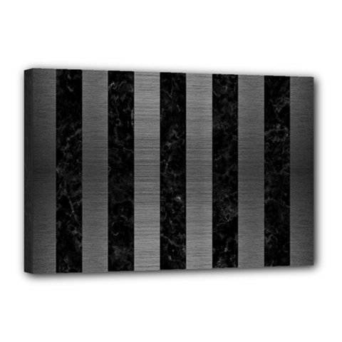 Stripes1 Black Marble & Gray Brushed Metal Canvas 18  X 12  by trendistuff