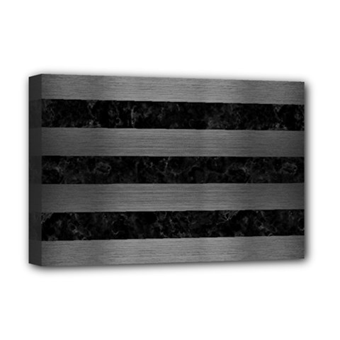 Stripes2 Black Marble & Gray Brushed Metal Deluxe Canvas 18  X 12   by trendistuff