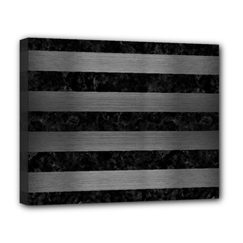 Stripes2 Black Marble & Gray Brushed Metal Deluxe Canvas 20  X 16   by trendistuff