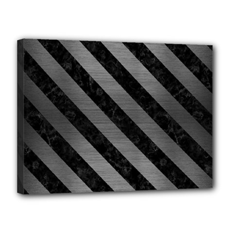 Stripes3 Black Marble & Gray Brushed Metal Canvas 16  X 12