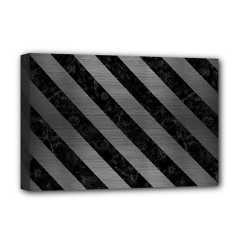 Stripes3 Black Marble & Gray Brushed Metal Deluxe Canvas 18  X 12   by trendistuff