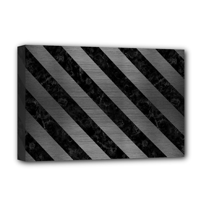 STRIPES3 BLACK MARBLE & GRAY BRUSHED METAL Deluxe Canvas 18  x 12