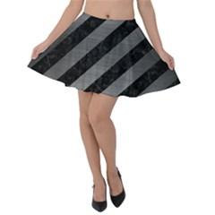 Stripes3 Black Marble & Gray Brushed Metal (r) Velvet Skater Skirt by trendistuff