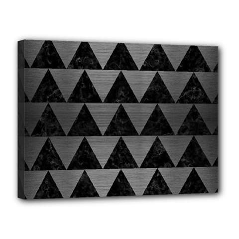 Triangle2 Black Marble & Gray Brushed Metal Canvas 16  X 12