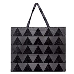 Triangle2 Black Marble & Gray Brushed Metal Zipper Large Tote Bag by trendistuff