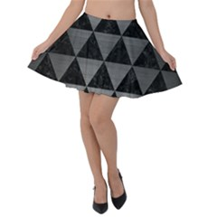 Triangle3 Black Marble & Gray Brushed Metal Velvet Skater Skirt
