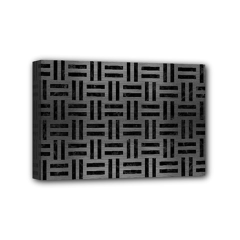 Woven1 Black Marble & Gray Brushed Metal Mini Canvas 6  X 4  by trendistuff