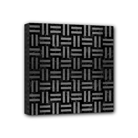 Woven1 Black Marble & Gray Brushed Metal (r) Mini Canvas 4  X 4  by trendistuff