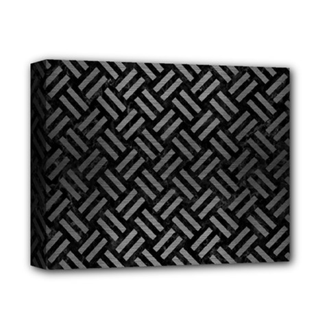 Woven2 Black Marble & Gray Brushed Metal (r) Deluxe Canvas 14  X 11  by trendistuff