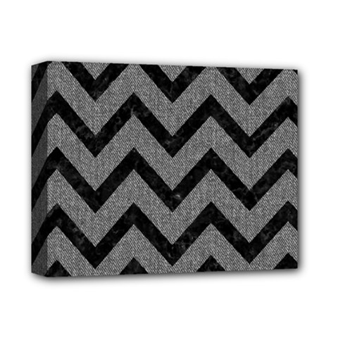 Chevron9 Black Marble & Gray Denim Deluxe Canvas 14  X 11  by trendistuff