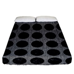 Circles1 Black Marble & Gray Denim Fitted Sheet (queen Size) by trendistuff
