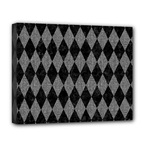 Diamond1 Black Marble & Gray Denim Deluxe Canvas 20  X 16   by trendistuff