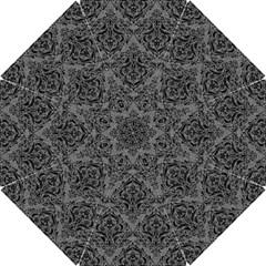 Damask1 Black Marble & Gray Denim Hook Handle Umbrellas (small) by trendistuff