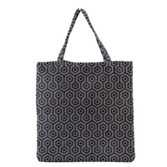 Hexagon1 Black Marble & Gray Denim Grocery Tote Bag by trendistuff