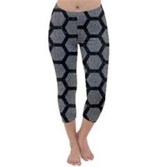 Hexagon2 Black Marble & Gray Denim Capri Winter Leggings