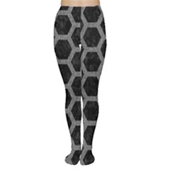 Hexagon2 Black Marble & Gray Denim (r) Women s Tights by trendistuff