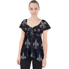 Royal1 Black Marble & Gray Denim Lace Front Dolly Top