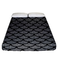 Scales1 Black Marble & Gray Denim Fitted Sheet (king Size) by trendistuff