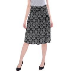 Scales2 Black Marble & Gray Denim Midi Beach Skirt by trendistuff