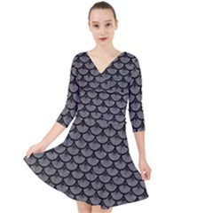 Scales3 Black Marble & Gray Denim Quarter Sleeve Front Wrap Dress