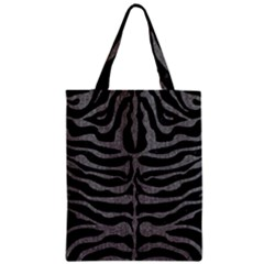 Skin2 Black Marble & Gray Denim (r) Zipper Classic Tote Bag by trendistuff