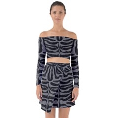 Skin2 Black Marble & Gray Denim (r) Off Shoulder Top With Skirt Set