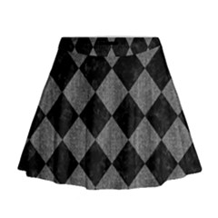 Square2 Black Marble & Gray Denim Mini Flare Skirt